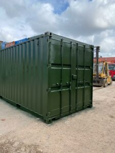 20ft Used Storage Containers for sale Repainted Green UK