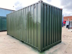 used shipping container painted and refurbed
